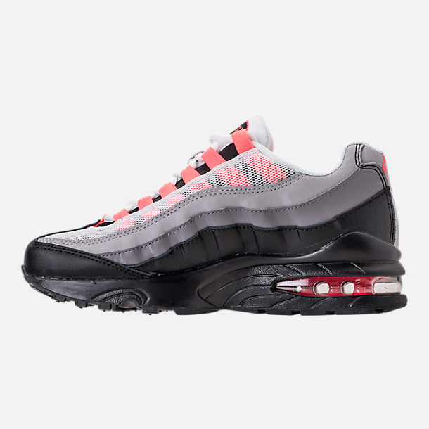 Left view of Girls' Grade School Nike Air Max 95 Casual Shoes in Black/Solar Red/Gunsmoke
