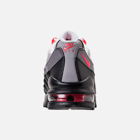 Back view of Girls' Grade School Nike Air Max 95 Casual Shoes in Black/Solar Red/Gunsmoke