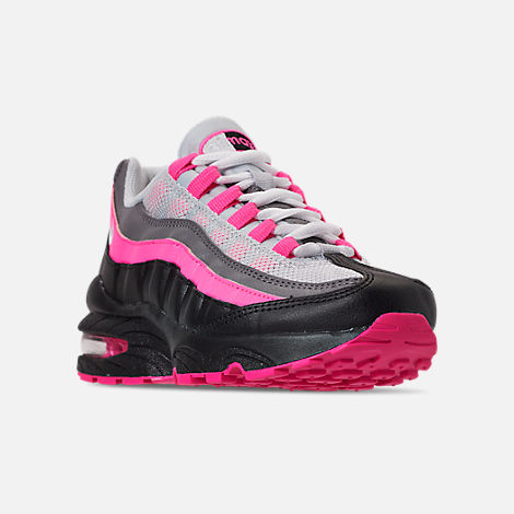 Three Quarter view of Girls' Big Kids' Nike Air Max 95 Casual Shoes