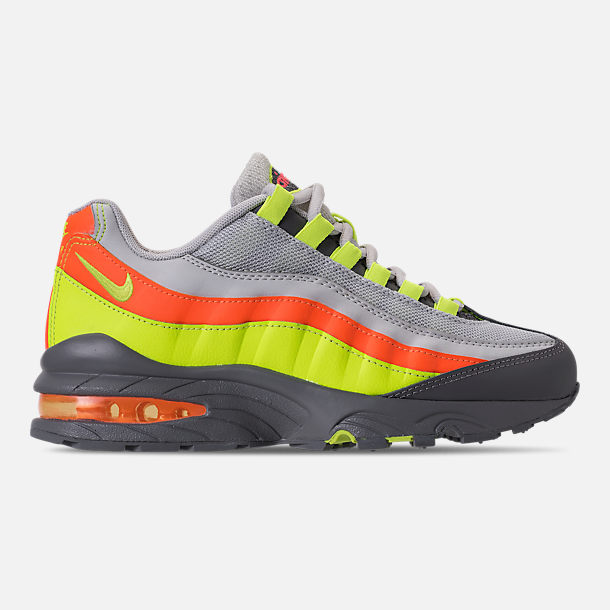 Right view of Boys' Grade School Nike Air Max 95 Casual Shoes in Vast Grey/Volt/Gunsmoke/Total Orange