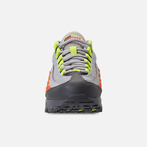 Front view of Boys' Grade School Nike Air Max 95 Casual Shoes in Vast Grey/Volt/Gunsmoke/Total Orange