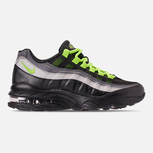 Right view of Big Kids' Nike Air Max 95 Casual Shoes in Black/Volt/Dark Grey/Light Bone