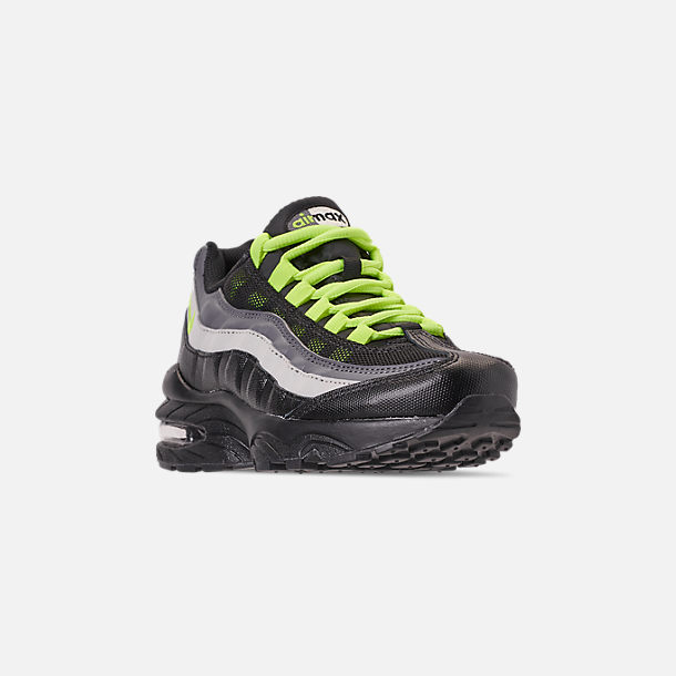 Three Quarter view of Big Kids' Nike Air Max 95 Casual Shoes in Black/Volt/Dark Grey/Light Bone