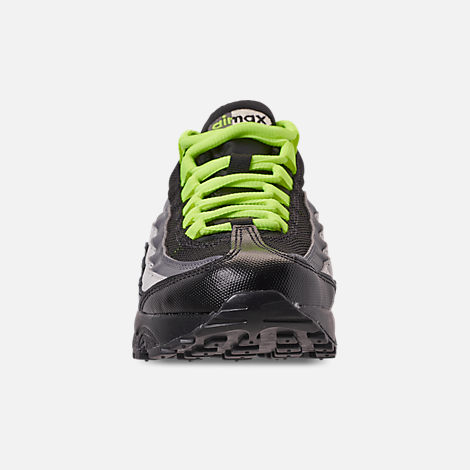 Front view of Big Kids' Nike Air Max 95 Casual Shoes in Black/Volt/Dark Grey/Light Bone