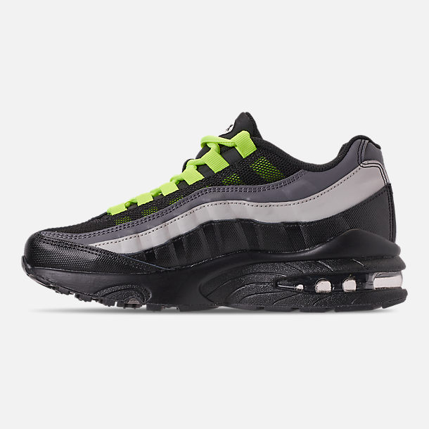 Left view of Big Kids' Nike Air Max 95 Casual Shoes in Black/Volt/Dark Grey/Light Bone