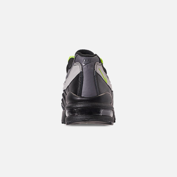 Back view of Big Kids' Nike Air Max 95 Casual Shoes in Black/Volt/Dark Grey/Light Bone