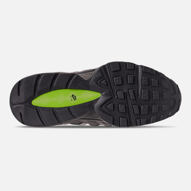 Bottom view of Big Kids' Nike Air Max 95 Casual Shoes in Black/Volt/Dark Grey/Light Bone