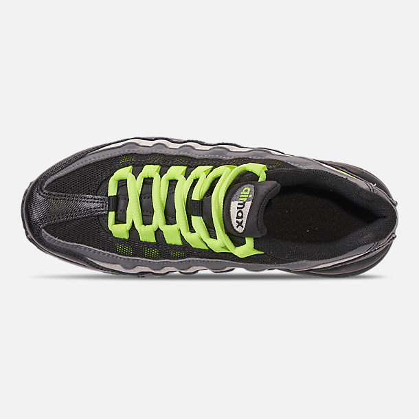 Top view of Big Kids' Nike Air Max 95 Casual Shoes in Black/Volt/Dark Grey/Light Bone