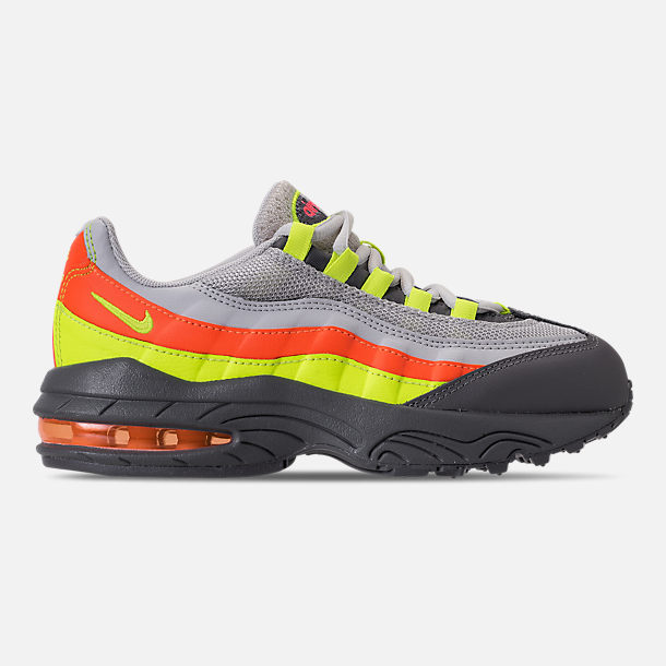 Right view of Boys' Preschool Nike Air Max 95 Casual Shoes in Vast Grey/Volt/Gunsmoke/Total Orange