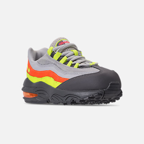 Three Quarter view of Boys' Preschool Nike Air Max 95 Casual Shoes in Vast Grey/Volt/Gunsmoke/Total Orange