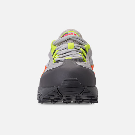 Front view of Boys' Preschool Nike Air Max 95 Casual Shoes in Vast Grey/Volt/Gunsmoke/Total Orange