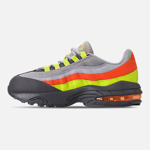 Left view of Boys' Preschool Nike Air Max 95 Casual Shoes in Vast Grey/Volt/Gunsmoke/Total Orange