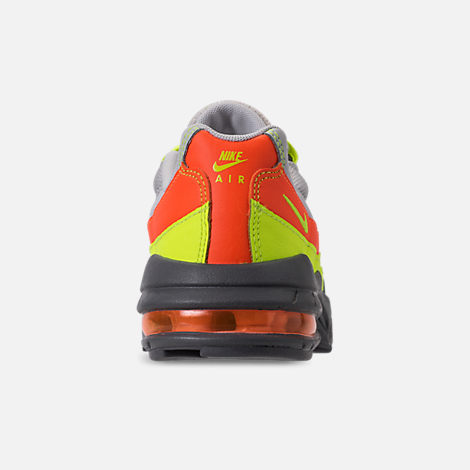 Back view of Boys' Preschool Nike Air Max 95 Casual Shoes in Vast Grey/Volt/Gunsmoke/Total Orange