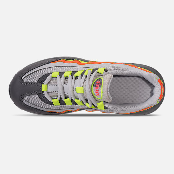 Top view of Boys' Preschool Nike Air Max 95 Casual Shoes in Vast Grey/Volt/Gunsmoke/Total Orange