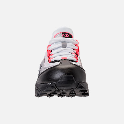 Front view of Girls' Preschool Nike Air Max 95 Casual Shoes in Black/Solar Red/Gunsmoke
