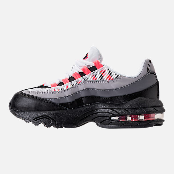 Left view of Girls' Preschool Nike Air Max 95 Casual Shoes in Black/Solar Red/Gunsmoke