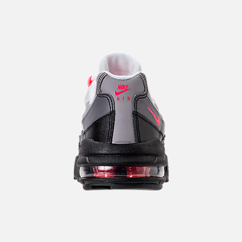 Back view of Girls' Preschool Nike Air Max 95 Casual Shoes in Black/Solar Red/Gunsmoke