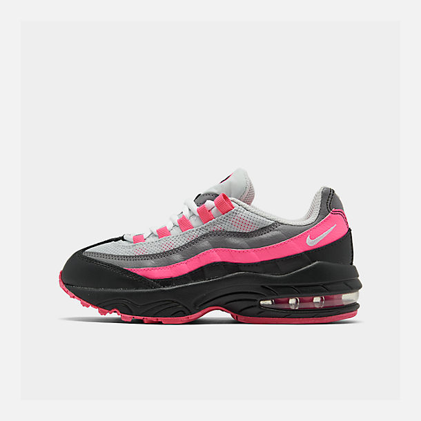 Right view of Girls' Preschool Nike Air Max 95 Casual Shoes in Black/White/Pink Blast/Gunsmoke