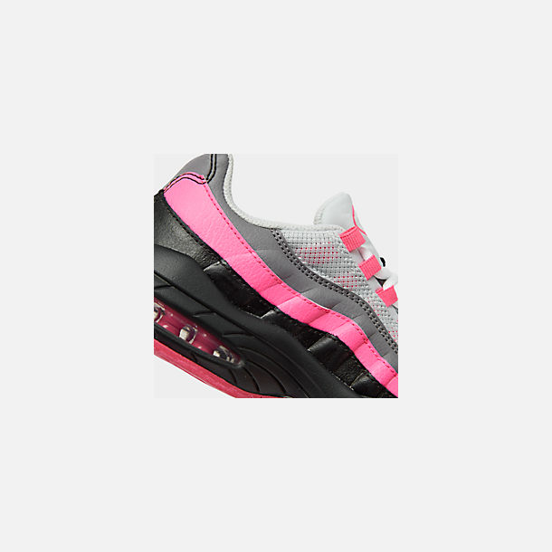 Front view of Girls' Preschool Nike Air Max 95 Casual Shoes in Black/White/Pink Blast/Gunsmoke