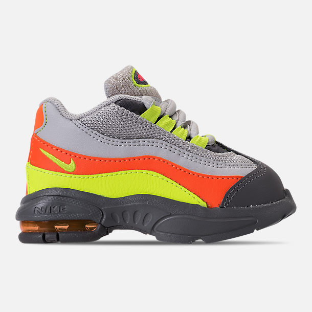 Right view of Boys' Toddler Nike Air Max 95 Casual Shoes in Vast Grey/Volt/Gunsmoke/Total Orange