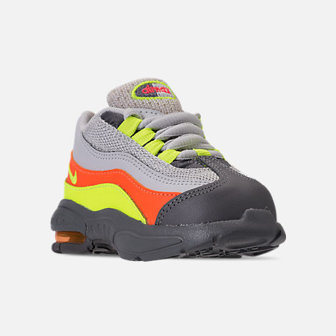 Three Quarter view of Boys' Toddler Nike Air Max 95 Casual Shoes in Vast Grey/Volt/Gunsmoke/Total Orange