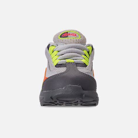 Front view of Boys' Toddler Nike Air Max 95 Casual Shoes in Vast Grey/Volt/Gunsmoke/Total Orange