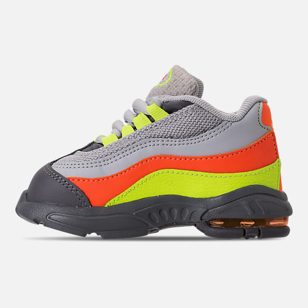Left view of Boys' Toddler Nike Air Max 95 Casual Shoes in Vast Grey/Volt/Gunsmoke/Total Orange