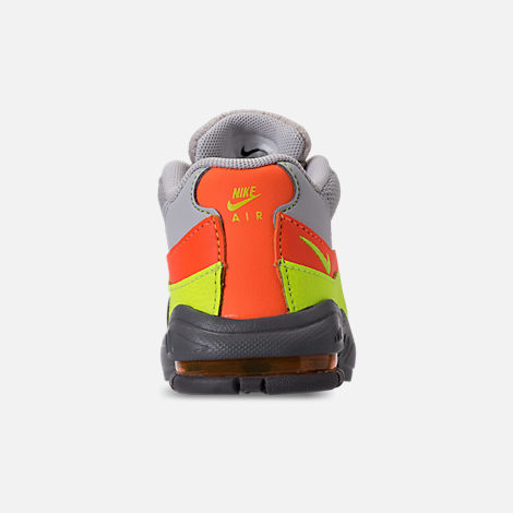 Back view of Boys' Toddler Nike Air Max 95 Casual Shoes in Vast Grey/Volt/Gunsmoke/Total Orange