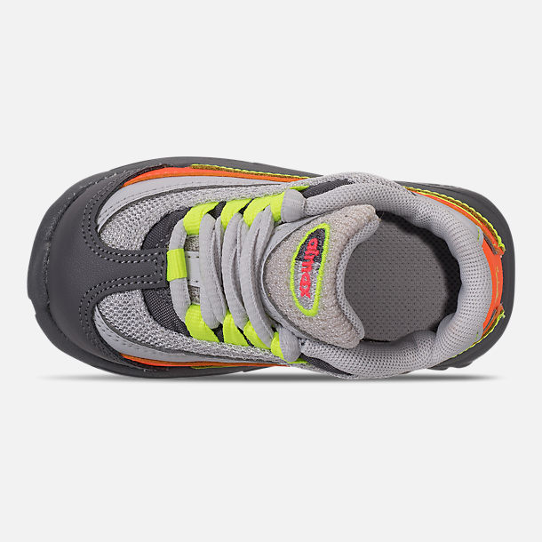 Top view of Boys' Toddler Nike Air Max 95 Casual Shoes in Vast Grey/Volt/Gunsmoke/Total Orange