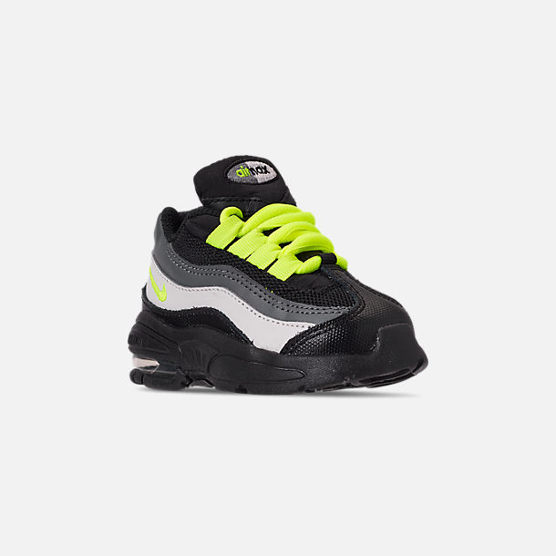 Three Quarter view of Kids' Toddler Nike Air Max 95 Casual Shoes in Black/Volt/Dark Grey/Light Bone
