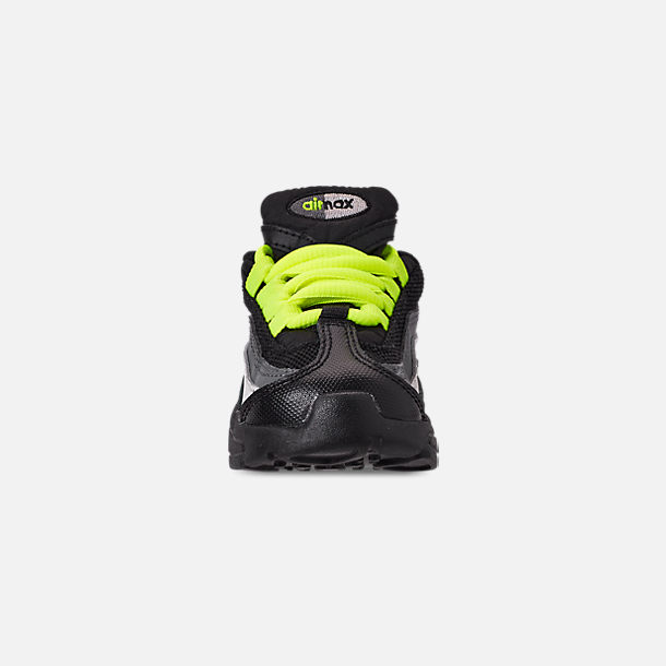 Front view of Kids' Toddler Nike Air Max 95 Casual Shoes in Black/Volt/Dark Grey/Light Bone