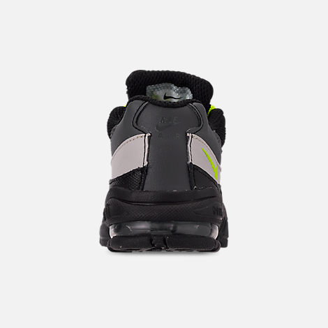 Back view of Kids' Toddler Nike Air Max 95 Casual Shoes in Black/Volt/Dark Grey/Light Bone
