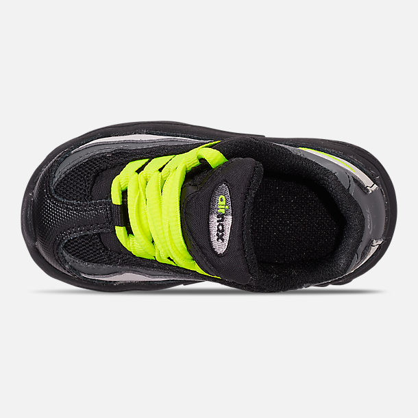 Top view of Kids' Toddler Nike Air Max 95 Casual Shoes in Black/Volt/Dark Grey/Light Bone