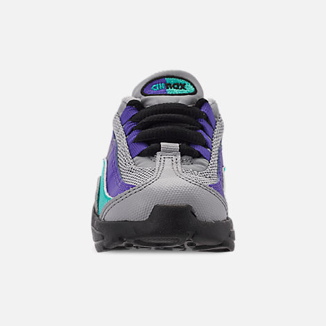 Front view of Kids' Toddler Nike Air Max 95 Casual Shoes in Wolf Grey/Blast/Indigo Burst/Hyper