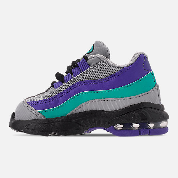 Left view of Kids' Toddler Nike Air Max 95 Casual Shoes in Wolf Grey/Blast/Indigo Burst/Hyper