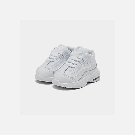 Three Quarter view of Kids' Toddler Nike Air Max 95 Casual Shoes in White/White/Metallic Silver