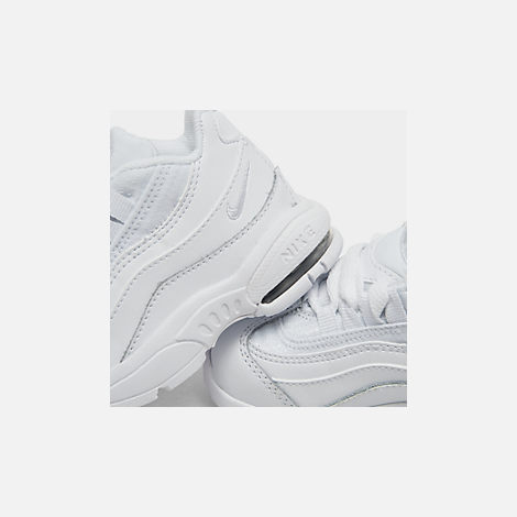 Front view of Kids' Toddler Nike Air Max 95 Casual Shoes in White/White/Metallic Silver