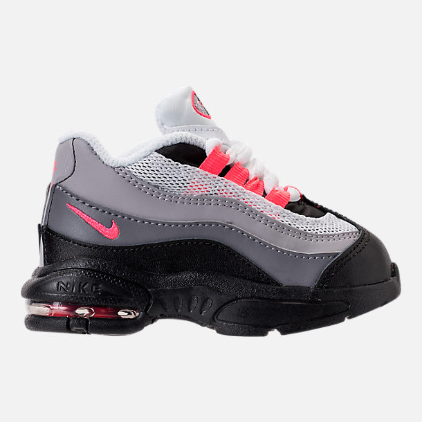 Right view of Girls' Toddler Nike Little Air Max 95 Casual Shoes in Black/Solar Red/Gunsmoke/Atmosphere