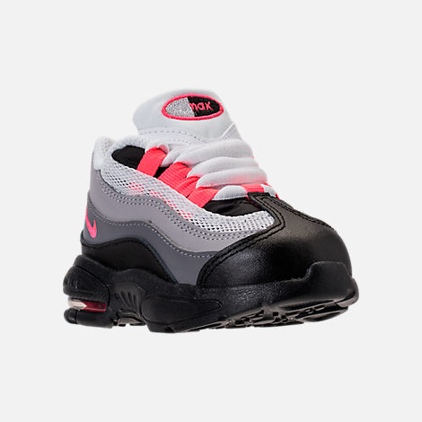 Three Quarter view of Girls' Toddler Nike Little Air Max 95 Casual Shoes in Black/Solar Red/Gunsmoke/Atmosphere