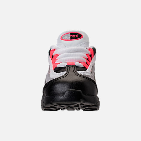 Front view of Girls' Toddler Nike Little Air Max 95 Casual Shoes in Black/Solar Red/Gunsmoke/Atmosphere