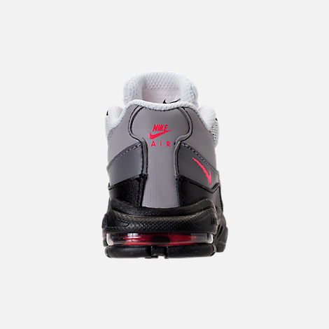 Back view of Girls' Toddler Nike Little Air Max 95 Casual Shoes in Black/Solar Red/Gunsmoke/Atmosphere