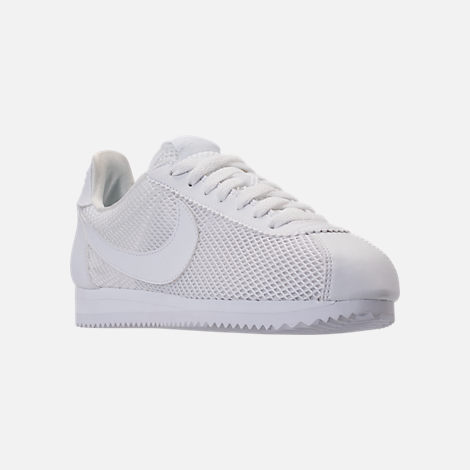 Three Quarter view of Women's Nike Classic Cortez Premium Casual Shoes in White/White