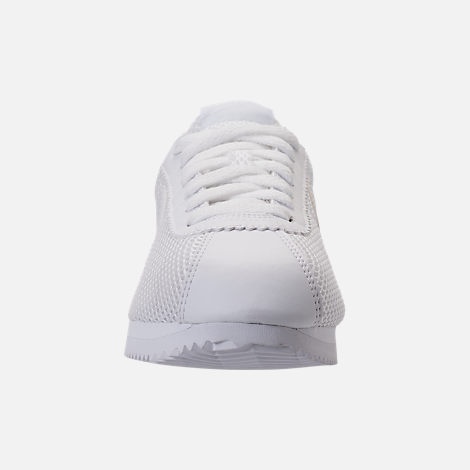 Front view of Women's Nike Classic Cortez Premium Casual Shoes in White/White