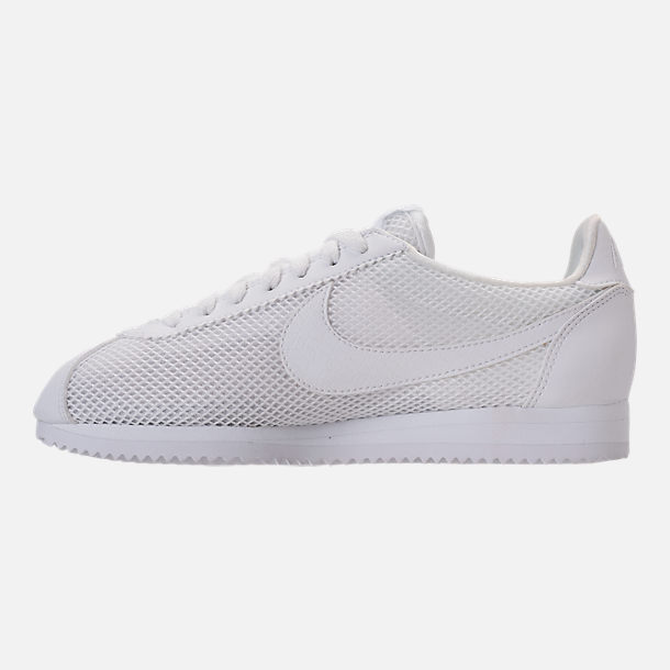Left view of Women's Nike Classic Cortez Premium Casual Shoes in White/White