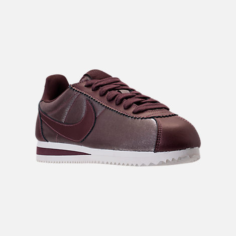 Three Quarter view of Women's Nike Classic Cortez Premium Casual Shoes in Metallic Magogany/Mahogany