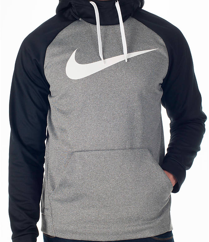 Detail 1 view of Men's Nike Therma Fleece Training Hoodie in Carbon Heather