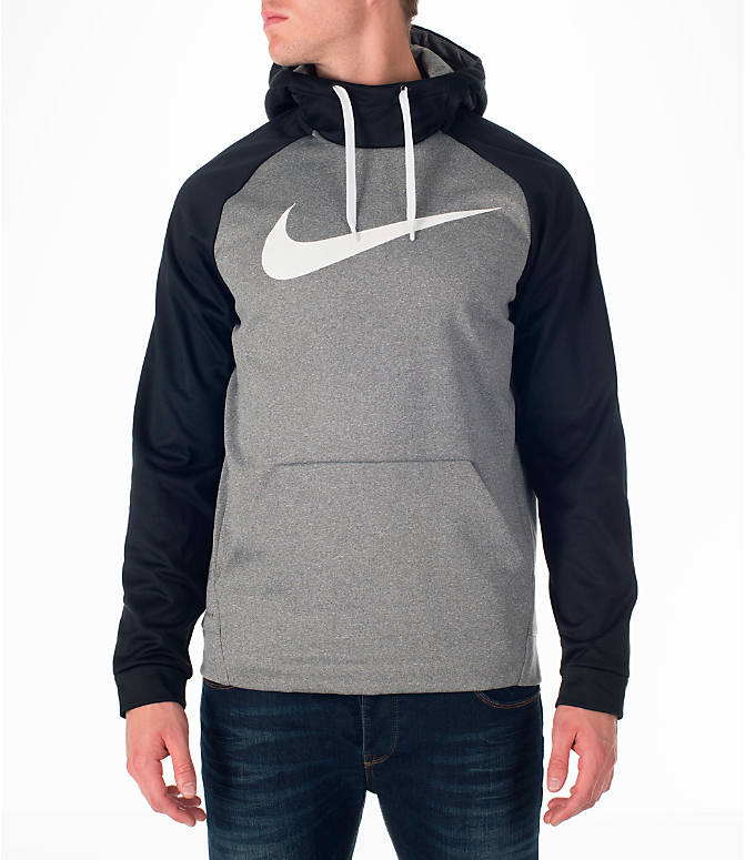 Front view of Men's Nike Therma Fleece Training Hoodie in Carbon Heather