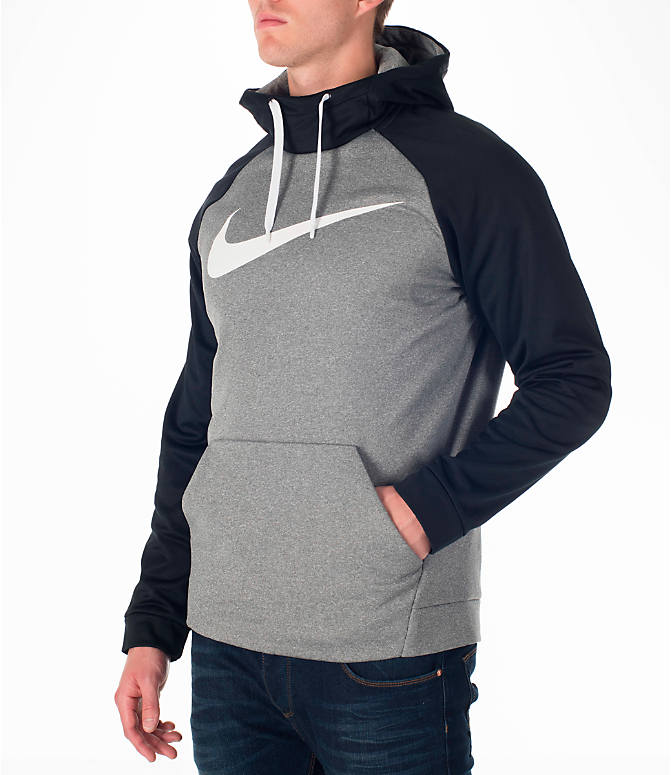 Front Three Quarter view of Men's Nike Therma Fleece Training Hoodie in Carbon Heather