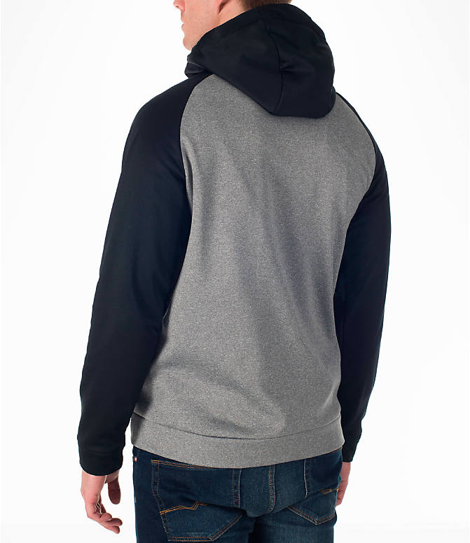 Back Left view of Men's Nike Therma Fleece Training Hoodie in Carbon Heather