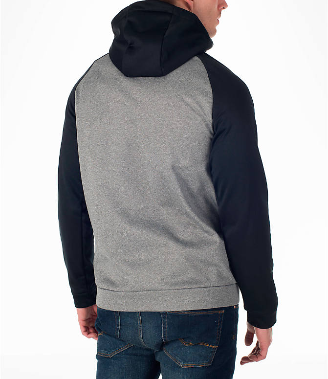 Back Right view of Men's Nike Therma Fleece Training Hoodie in Carbon Heather